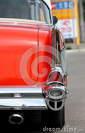 Back of vintage red car