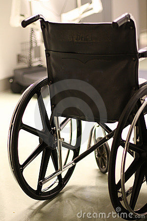 Back of wheelchair in a hospital