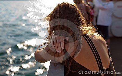 Back of woman on boat