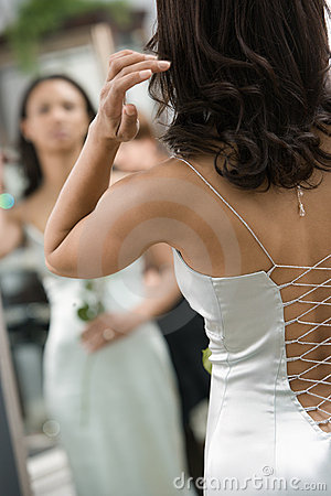 Back of woman in gown