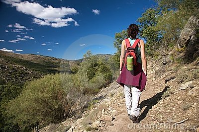 Back woman hiking in gredos