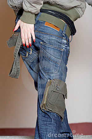 Back of woman in jeans