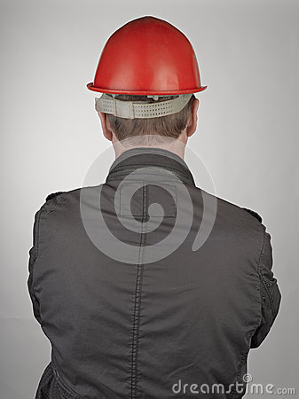 Back of worker man