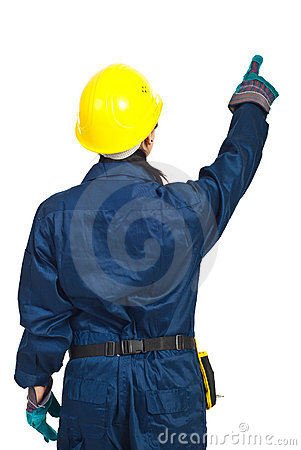 Back of worker woman pointing up