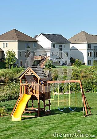 Free Back Yard Wooden Swing Set Stock Photo - 11096020