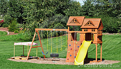 Back Yard Wooden Swing Set
