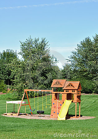 Free Back Yard Wooden Swing Set Royalty Free Stock Images - 16520849