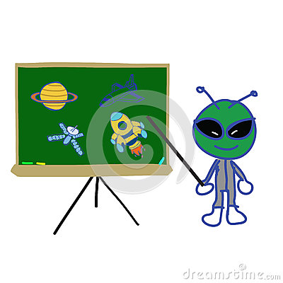 Backboard  with space object and alien instructor