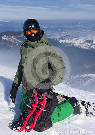Backcountry freerider with the snowshoes Editorial Stock Photo