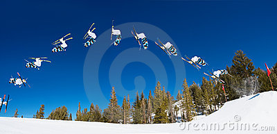 Backflip Sequence of Skier