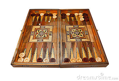 Backgammon board entirely on white background.