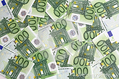 Background 100 euro banknotes