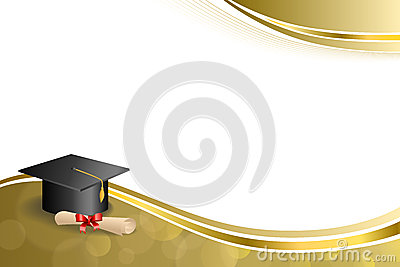 Background abstract beige education graduation cap diploma red bow gold frame illustration Cartoon Illustration