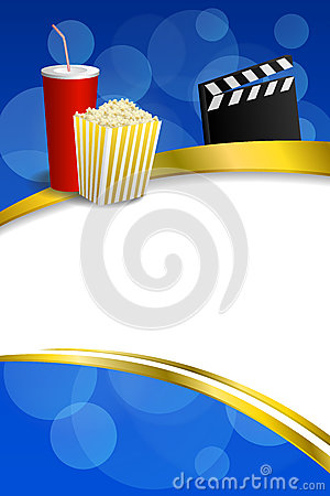 Free Background Abstract Blue Gold Red Drink Popcorn Movie Clapper Board Gold Frame Ribbon Vertical Illustration Royalty Free Stock Images - 56560829