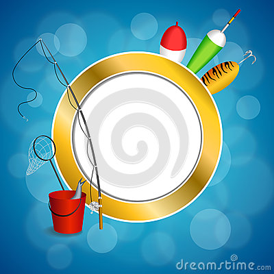 Free Background Abstract Blue White Fishing Rod Red Bucket Fish Net Float Spoon Yellow Green Frame Circle Illustration Royalty Free Stock Photos - 56408608