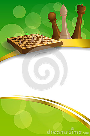 Free Background Abstract Green Gold Chess Game Brown Beige Board Figures Gold Frame Ribbon Vertical Illustration Stock Images - 56649774