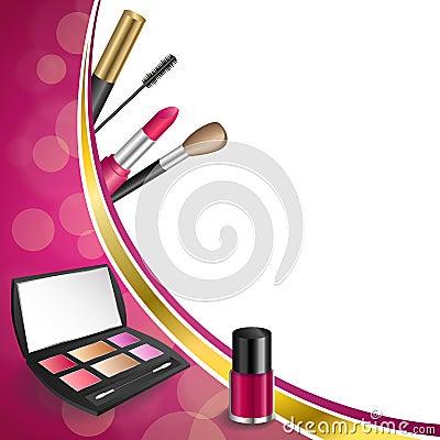 Free Background Abstract Pink Cosmetics Make Up Lipstick Mascara Eye Shadows Nail Polish Gold Ribbon Frame Illustration Stock Images - 56318324