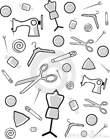 Background from accessories for cutting and sewing