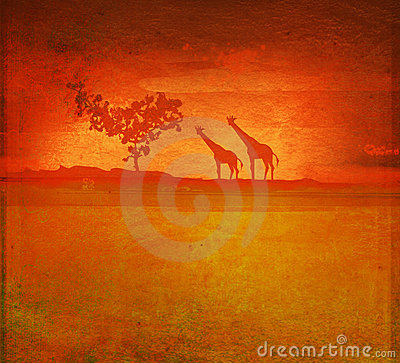 Background with African fauna and flora