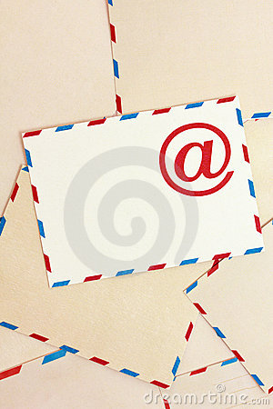 Background from airmail envelopes and e-mail