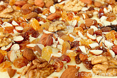 Background from almonds, raisins and nuts