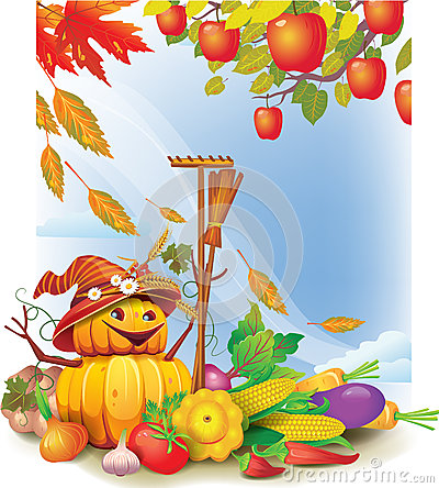 Background with autumn leaves and vegetable