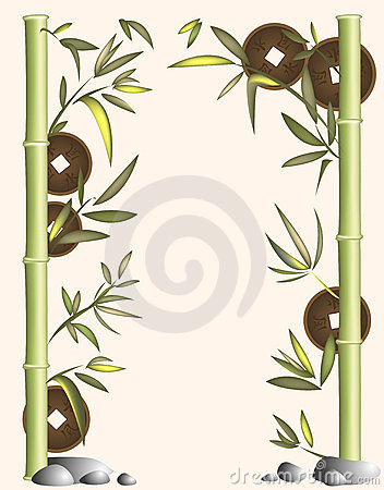 Background of bamboo and coins