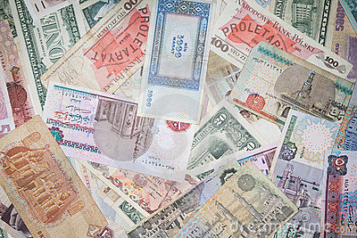 Background from banknotes of monetary currencies