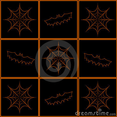 Background with bats and cobweb