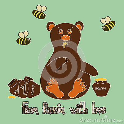 Background with bear and bees