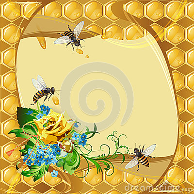 Background with bees and yellow rose