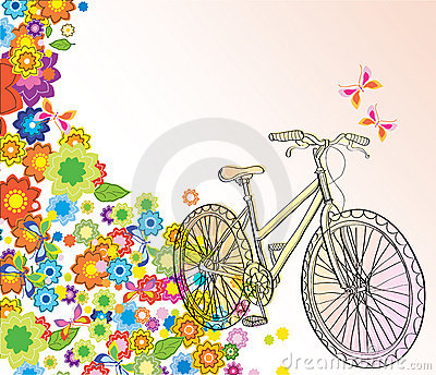 Background with bicycle and beautiful flowers