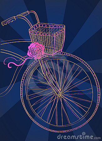 Background with bicycle and rose