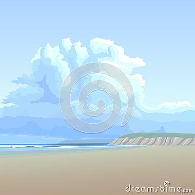 Background big cloud over the sandy coast.