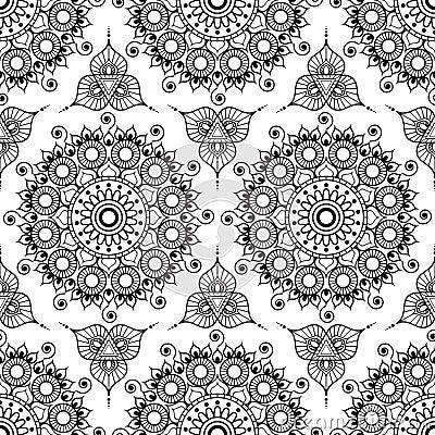 Background With Black And White Mehndi Henna Seamless Lace Buta