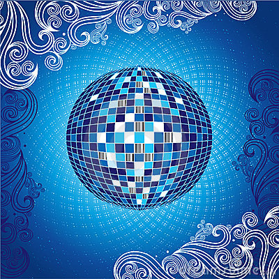 Background with blue disco-ball