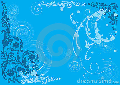Background with blue floral pattern