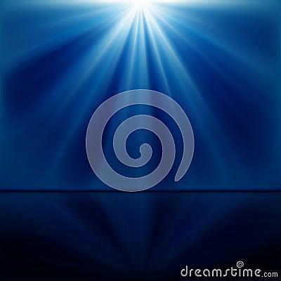 Background of blue luminous rays