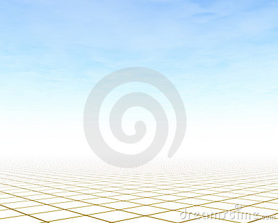 Background with blue sky and floor