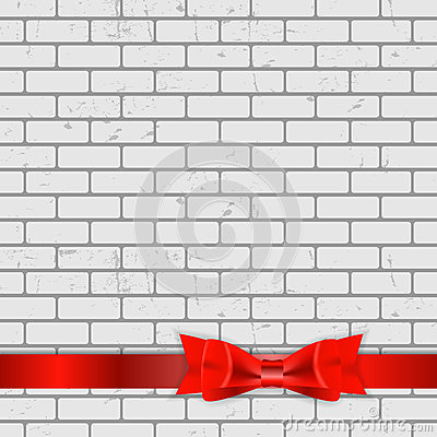 Background of Brick Wall Texture with Bow and