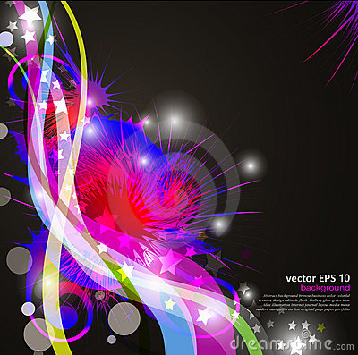 Background with bright, colorful abstract flowers