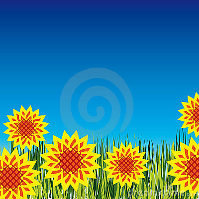 Background with bright flowers