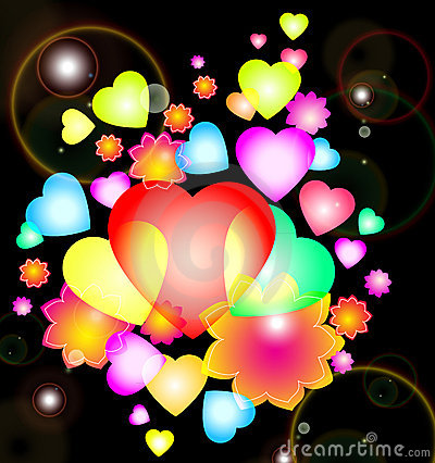 Background with bright hearts and flowers