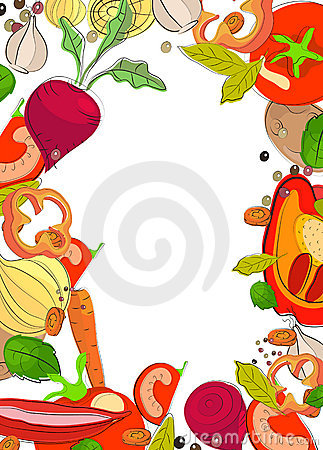 Background with bright vegetables