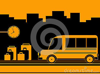 Background with bus station