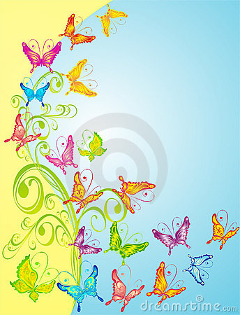 Background with butterflies, floral ornate, vector