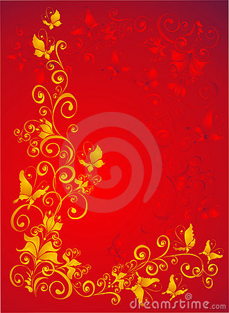 Background with butterfly, florel ornate, vector