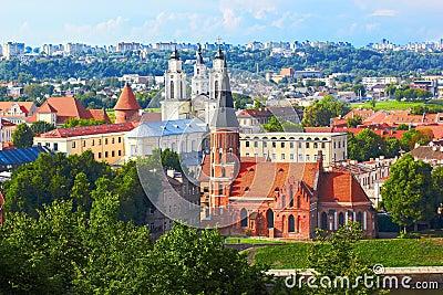Panorama of Kaunas from Aleksotas hill, Lithuania