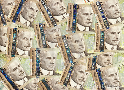 Background of Canadian one hundred dollar bills