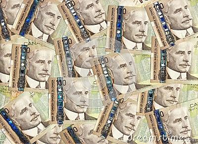 Background of Canadian one hundred dollar bills